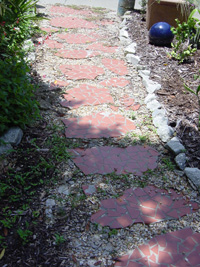 Recycled tile and concrete used as garden steps