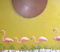 Pink Flamingos, card table sculpture