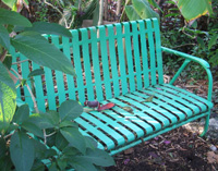 Recycled vintage iron garden bench