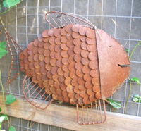 Indian recycled iron fish garden sculpture