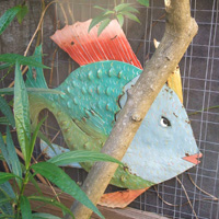 Recycled oil drum painted fish sculpture from Haiti