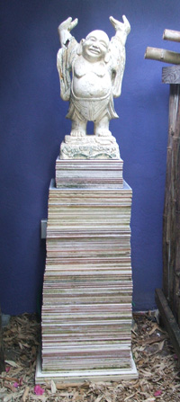 Recycled stacked sample tiles garden pedestal