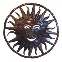 "24"" sun recycled oil drum carving from Haiti"