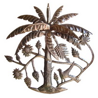 oil drum carving of palm tree
