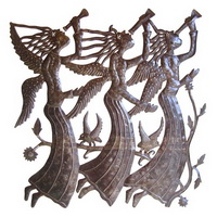 3 angels with horns recycled oil drum sculpture from Haiti