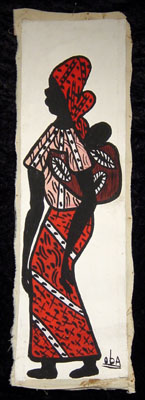 Painting of  an African woman with child on her back, from west Africa, circa 1970s.