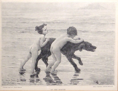 """At the Seaside"" 1896 original halftone print by Virginie E. Demont-Breton"