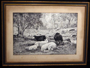 Pen & ink drawing of sheep and shepherdess